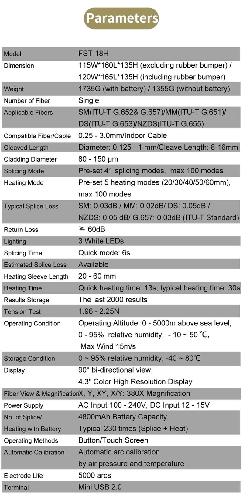 fiber optic fusion splicer 18H